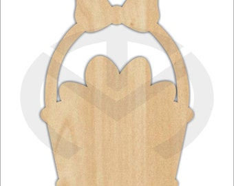 Unfinished Wood Easter Basket Laser Cutout, Wreath Accent, Door Hanger, Ready to Paint & Personalize, Various Sizes