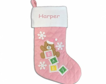 Personalized Quilted Baby Bear Christmas Stocking - Pink