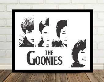 The Goonies Art Print Poster 80's Movies Cult Classic The Goondocks Mikey Mouth Data Chunk Goonies Never Say Die 80's Movie Poster Print