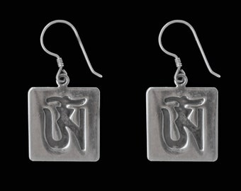 Silver Earrings with Om Symbol