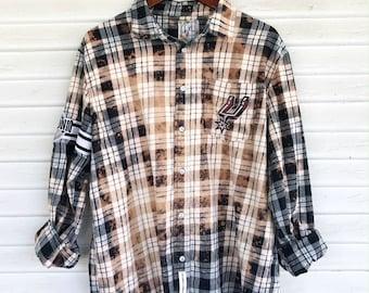 XL - Flannel Shirt - SPURS - Bleached - Vintage Washed Flannel - Oversized Flannel - Distressed Flannel - Plaid Shirt - Fall Shirt - #95 Bm