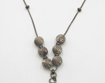 Vintage sterling silver chain & natural stone pendant necklace