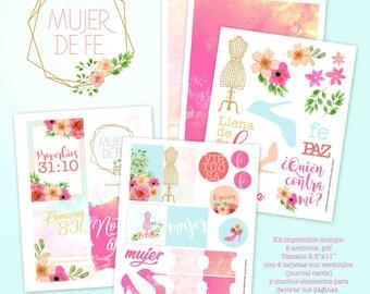 Bible Journaling Kit Imprimible Mujer de Fe