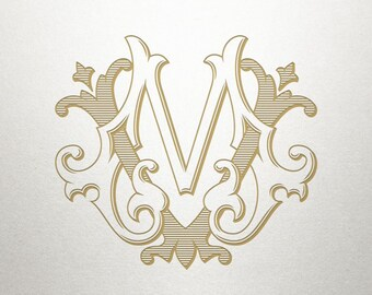 Custom Vintage Monogram -  MV VM - Vintage Monogram - Digital