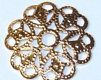 50 pcs of Gold-plated  filigree round 15mm