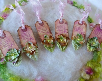 Gift Tags 6 Hand Stamped Rustic Fairytale Gift Tags, Rayon Ribbon, Hydrangea Blossoms Leave Room in Your Garden for the Fairies to Dance