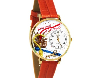 Whimsical Knitting Watch Women's-Hand Painted-Red Leather-Scratch Resistant Glass-Quartz Movement-Made in USA-Battery & Gift Box
