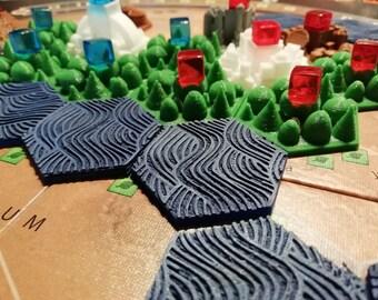 9 Hand painted Ocean tiles for Terraforming Mars board game