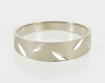 14K Textured Leaf Grooved Men's Wedding Band Ring Size 11.75 White Gold