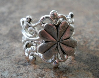 Lucky Shamrock Ring in Silver ORIGINAL Design by Enchanted Lockets