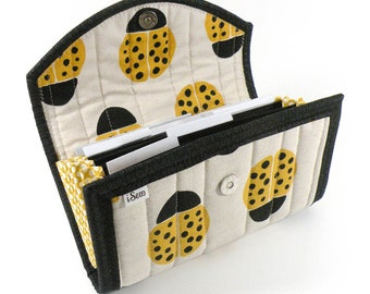 Cash / Coupon / Expense / Receipt Organizer - Yellow Ladybug - Accordion Style Flexible Use Multi Use Write Your Own Labels  Ladybird