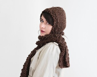 Knit Hooded Scarf - Fall Knitted Scoodie - Winter Knit Hoodie in Tweed - Women's Fall Fashion Accessory | The Pluto Scarf |