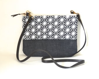 Crossbody bag, Geometry bag, Screen print, Japanese bag, Small crossbody bag, Shoulder bag