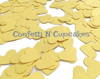 Yellow Confetti, baby shower confetti, yellow heart confetti, throwing confetti, pale yellow decor, wedding decorations, shower decor,