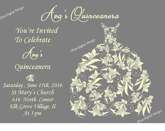 Quinceanera Invitation, quinceanera dress invitation, sweet sixteen invitation, mis quince invitation, sweet 16, mis quince, grey and yellow