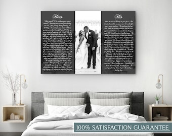 His And Hers Canvas, Vows On Canvas, His Side Her Side, His And Hers Vows, Custom Personalized Canvas Print