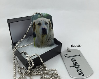 Custom Photo Personalized In Memory of Pet Necklace Dog Tag - In Memory of Pet Sympathy Gift - Photo Dog Tag Personalized Pet Necklace