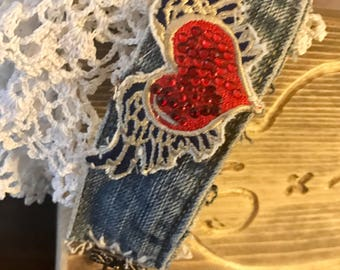 Heart with wings denim cuff