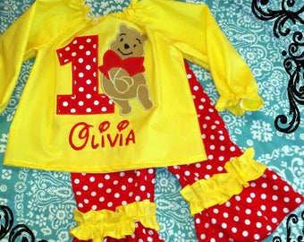 Pooh Bear Birthday Outfit Ruffled Pant Set - Custom Boutique Red Dot & Yellow OUTFIT - 1st 2nd 3rd 4th 5th Birthday Winnie the Pooh