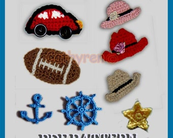 Beetle Car, Cowboy Hat, Football, Anchor, Wheel, Star -INSTANT DOWNLOAD Crochet Pattern