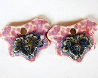 Rustic flower charms, floral earrings charms, flower Earrings, boho jewelry, primitive flower ceramic charms, handmade earring findings