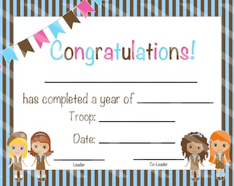 INSTANT DOWNLOAD - Scout Certificate of Completion - Scout Bridging Award - Scout Certificate - DIY - Print at Home