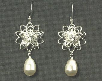Silver Bridal Earrings, Crystal Flower Wedding Jewelry, Vintage Style Bridal Jewelry, Rhinestone Dangle Wedding Earrings -- ROMANTIC GARDEN