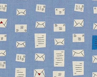 S.S. Bluebird Notes Blue Love Letter Envelope Mail Postal Cotton Fabric by Cotton + Steel