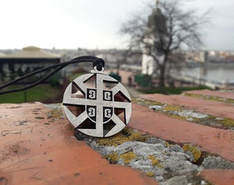 Kolovrat Slavic Sun Wheel with Serbian Coat of arms God Svarog symbol necklace and keychain,Slavic mythology jewelry,Serbian traditional
