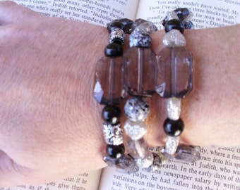 boho gypsy beaded stretch bracelet set of three,smokey tope,black,zebra