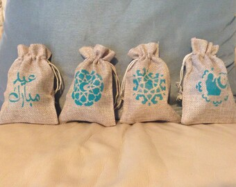 Eid burlap gift bags : Set of 4
