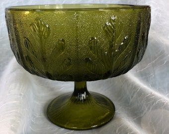 Avocado Green FTD Pedestal Vase with Leaf Design