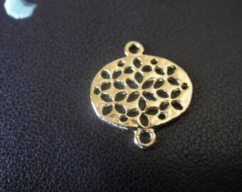 Vermeil 18K Gold over 925 sterling silver Filigree Oval Flower Pattern Connector Link Metal Bead, vermeil oval connector,connector, oval