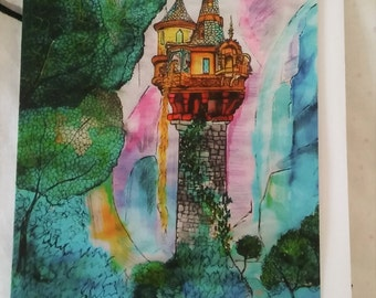 Rapunzel's Tower Greetings Card