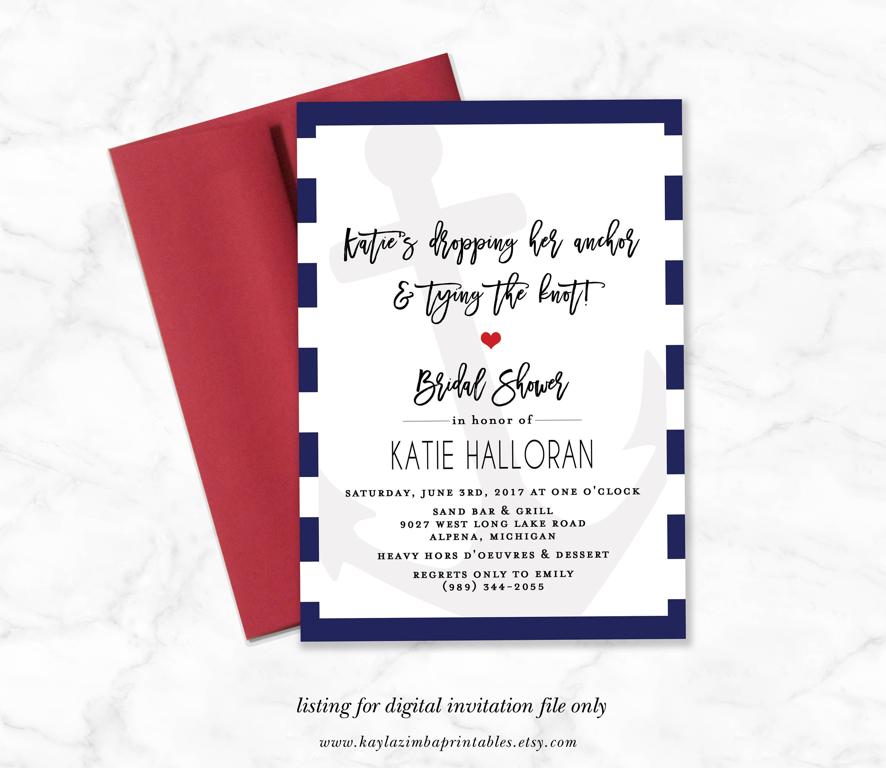 Nautical Bridal Shower Invitation Dropping Anchor and Tying