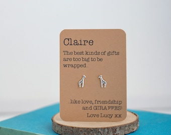 Love, Friendship and Giraffe earrings! Sterling Silver - Animal Jewellery - Birthday Gift