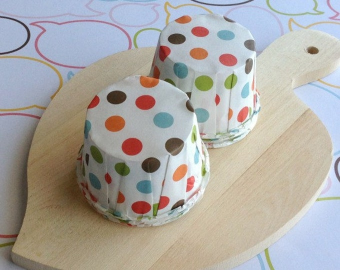 25 Mixed Polka Dot Baking Cups