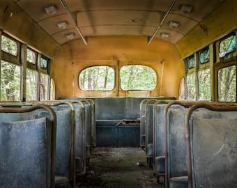 American School Bus Photography - Old Yellow Bus Print - Vintage American Automobile - Nostalgic Childhood Art