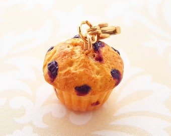 Handmade Blueberry Muffin Charm or Necklace - Polymer Clay Food Muffin - Miniature Food Jewelry - Miniature Blueberry Muffin