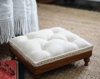 Vintage linen tufted footrest, upcycled wood frame ottoman, hand made button tufted furniture