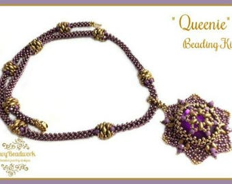 """Only Beads Kit : """"Queenie"""" Necklace in English D.I.Y."""