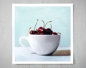 Cup of Cherries - Fine Art Oil Painting Archival Giclee Print Decor by Artist Lauren Pretorius