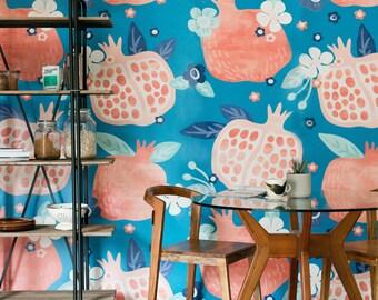 Pomegranate Mural - Floral Scene Wallpaper, Garden Mural
