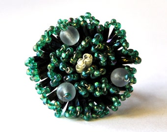 Aquamarine Beaded Ring - Vintage Glass Seed Bead Ring, Grape Ring, Spiky Crystal Ring, Cluster Ring