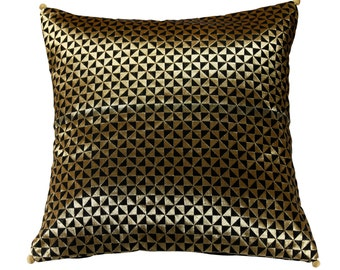 16 x 16 Black Brocade Cushion Cover with Triangle Weave