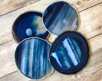 LARGE Blue Agate Coasters Blue Geode Coasters Set of Four - Agate Slice Geode Slice Crystal Coasters Rock Coasters Stone Coasters