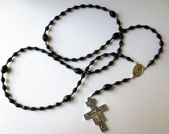 Black Franciscan Crown Rosary with Saint Francis/ Saint Anthony Center and San Damiano Cross with Peace Prayer