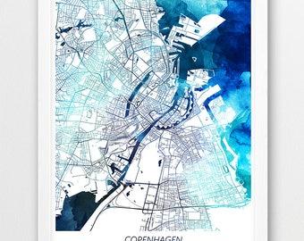 Copenhagen Map Print, Copenhagen Poster Print, Copenhagen City Denmark Urban Street Map, Blue Watercolor, Modern Home Wall Office Art Decor