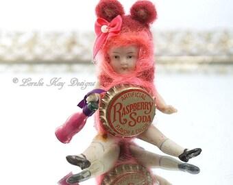 Raspberry Soda Pop Bear Needle Felted Doll Anthropomorphic Art Doll German Doll Parts Dollhouse Doll Lorelie Kay Original