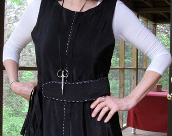 CUSTOM Pinafore or Jumper with matching belt, black rayon or any fabric